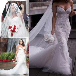 Wholesale Tulle Organza Sale - Hot Sale Plus Size Mermaid Wedding Dresses Cheap Bridal Gowns Sexy Sweetheart Applique Boho Beach Wedding Gown Lace Tulle Bridal Dress