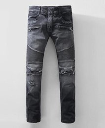 Wholesale Dark Wash Jeans - Men's jeans hot new low dark washed jeans new 2017 male low-waist micro-bomb motorized snow knee-level folding size 28-40