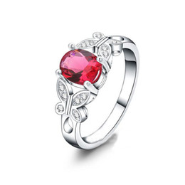 Wholesale Silver Butterfly Rings For Women - Silver Plated Red Ruby Stone Clear Crystal Cluster Butterfly Finger Ring for Women Size 7# 8#