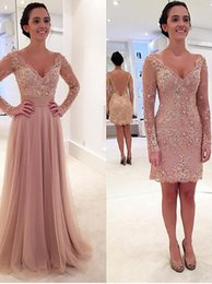 Wholesale Long Sleeved Gold Prom Dresses - Princess Long Sleeves V-neck Tulle Prom Dress with Detachable Train Chiffon Backless Evening Dresses Sleeved Removable Skirt 2016