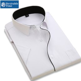 Wholesale Office Pink Short Dress - Wholesale-Mens Summer Dress Shirts Plus Size M-5XL 2016 Fashion Men Office Shirt Fitted Short Sleeve Dress Shirts For Men DT001