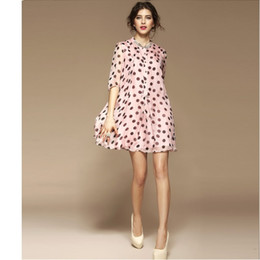 Wholesale Style For Women Working Dress - Women Fashion Summer Celebrity Casual New Dress 100% Silk Polka Dot Piping O neck Plus Size S M L XL XXL for Work Party Pink Blue DK0703
