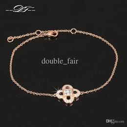 Wholesale Rose Gold Clover Bracelet - Clover Crystal Chain Bracelets & Bangles 18K Rose Gold Plated Fashion Brand Vintage Jewelry Imitation Gemstone For Women Wholesale DFH184