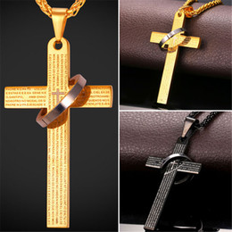 Wholesale Chains For Accessories - U7 Bible Verse Cross Pendant Necklace For Women Men Gold Black Gun Plated Stainless Steel Fashion Religious Jewelry Perfect Gift Accessories