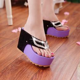 Wholesale Drag Platform Slippers - 2016 Fashion Summer Women Flat Platform Sandals Open Toe Wedges Slippers OC Canvas Paltform Drag Slides Female Sandals