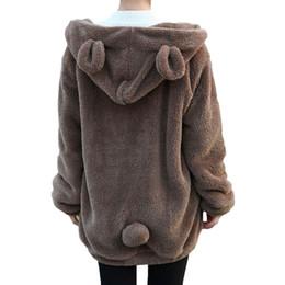 Wholesale Cute Winter Coats Sale - Hot Sale Women Hoodies Zipper Girl Winter Loose Fluffy Bear Ear Hoodie Hooded Jacket Warm Outerwear Coat cute sweatshirt H1301