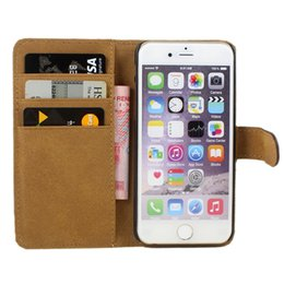Wholesale Flip Phone Holder - Luxury Flip PU Leather Wallet Pocket Cell Phone Cover Case With Credit Card Holder For iPhone 6 6S