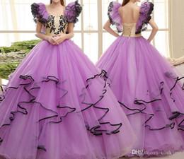 niños vestirse Rebajas Vestidos del desfile de las muchachas de Purple Light Vestidos de fiesta del vestido de bola de las colmenas de los tulipanes Vestidos de fiesta de los niños de Tulle Flower Dress de los niños