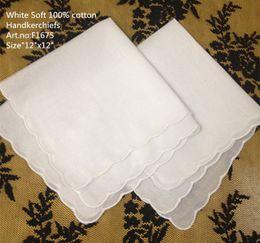"Wholesale Wedding Cotton Handkerchiefs - Free Shipping Home &Textiles Wedding Handkerchief 60PCS Lot 12x12""White Soft 100% cotton Ladies Hankie hanky Elegant scallop edges for bride"