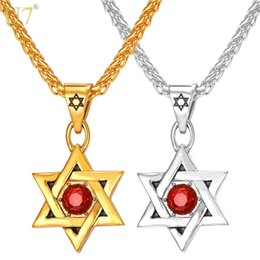 Wholesale Israel Necklace - unique Jewish Jewelry Magen Red Star of David Pendant Necklace Men Chain 18K Gold plated Women Stainless Steel Israel Necklace P805
