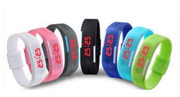 Wholesale Boys Lighting Watch - Korean couple light touch LED watch jelly bracelet bracelet boys and girls sports electronic watch free shipping