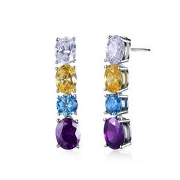 Wholesale Nickel Free Stud - 2017 Fashion Stud Earrings with 4 Pieces Multicolour AAA Austrian Cubic Zircon Lead & Nickel Free Earrings