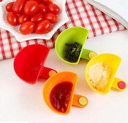 Wholesale Wholesale Sugar Bowls - Dip Clips Kitchen Bowl kit Tool Small Dishes Spice Clip For Tomato Sauce Salt Vinegar Sugar Flavor Spices