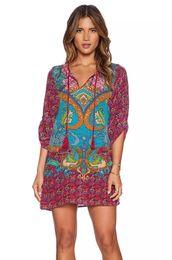 Wholesale Woman Tribal Shorts - tribal print dress 2016 woman dashiki half sleeve indian pattern print fashion S M L v-neck chiffon dress bohemia summer dress