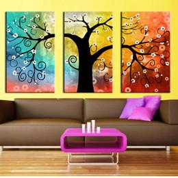 Peintures grands arbres en Ligne-3 panneaux Toile Peintures Art Arbre Peinture Coloré Grand Arbre Peinture Sur Toile Décor À La Maison Mur Art Abstrait Mur Art Photos pour Cadeaux
