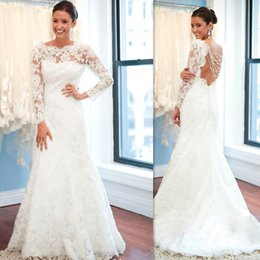 Wholesale Chinese Style Backless Wedding Dress - Chinese Wedding Dresses Long Sleeved Ivory Lace Mermaid Trumpet Style Sheer Open Back Bridal Gowns Romantic Vestido De Noiva De Renda