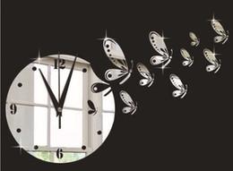 Schwarze mauer schmetterlinge online-TV Hintergrund Schmetterling Spiegel Wanduhr Quarz Wanduhr Wandaufkleber