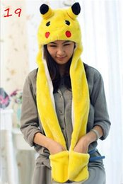 Wholesale Wholesale Animal Hats Mittens - Pikachu Cartoon Plush Animal Faux Fur Full Hood Kids Hat Women Children Costume Beanie with Long Scarf Mittens Gloves Earmuffs
