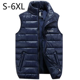 Wholesale 6xl Mans Winter Coats - Big Size Men Vest Waistcoat Winter Jacket Down Vests Thicken Warm Coat Sleeveless Cotton Clothes Male Brand Clothing Blue Black
