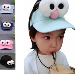 Wholesale Kids Hats Strap - Baby Kids Big Eye cap Unisex Kid's Baseball Caps with Adjustable Strap Cartoon Snapback Hat Sun Hat KKA2685