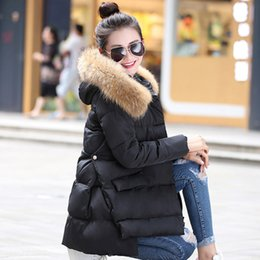 Wholesale Raccoon Clothing - Womens Down Jackets 2017 Large Real Raccoon Fur Collar Winter Jacket Women Down Parka Loose Thickening Warm Outwear Clothing