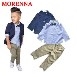 Wholesale Handsome Shirts - MORENNA 2017 Boys Clothing Gentleman Sets Handsome Denim Children Jacket + Shirt + Pants 3pcs set Kids Baby Children Suits