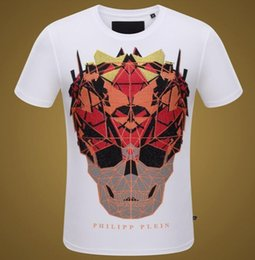 Wholesale Drill Shirts - Summer Men's Europe and the United States tide brand PP casual short-sleeved T-shirt red skeleton hot drilling cotton men's self-cultivation