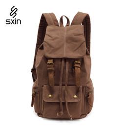 Wholesale Genuine Leather Backpack For Men - Vintage Canvas Men Bags School Satchel for Men Backpack Bag Casual Pattern Brand Unisex Laptop Travel Bag Business Bag 2105