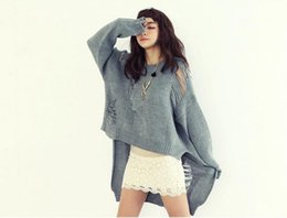 Wholesale Girls Poncho Sweaters - Women's Clothing 2018 New Long Sleeve Knitted Women Sweater Solid Punk Novelty Pullover Sweaters Hollow Hole Girl Poncho Jumper