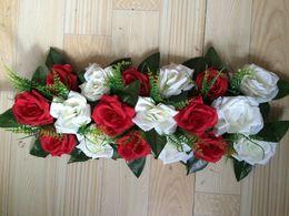 Wholesale Artificial Grass Bouquet - 10pcs   lot flower arch rose grass petals with leaf Wedding road lead flowers Bouquets Wedding road cited flowers and arch decoration