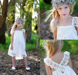 Wholesale Boho Dresses For Cheap - Boho Flower Girl Dresses For Wedding With Lace Spaghetti Strap Criss Cross Back Tea Length Girl Pageant Resses For Cheap Free Shipping