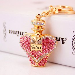 Wholesale Perfume Brand Top - Full Diamond perfume bottle Keychains Brand Design Luxury Accessories For Car Top Quality Crystal Keyrings Fashion Key Rings Wholesale