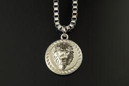Wholesale Lion Head Silver Pendants - HOT 18K Gold Silver Plated Lion Medallion Head pendant Hiphop franco long necklaces for mens bijouterie High Quality
