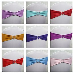 Wholesale Chair Tie Bands - 100pcs lot Spandex Lycra Wedding Chair Cover Sash Bands Party Birthday Chair Decoration Banquet Chair Sashes Bow Tie 40 Colors DHL Free