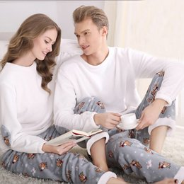 Wholesale Sexy Pajamas For Women - Wholesale- SSH042 Winter Flannel Couples Matching Pajamas Adult Full Sleeve Pyjamas For Women Men Full Length Pajama Set Warm Sleepwear