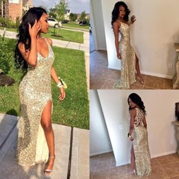 Wholesale Long Pink Sparkly Dress - Sexy Arabic Front Split Prom Party Dresses 2016 Deep V Neck Sparkly Champagne Sequined Open Back Plus Size Vestidos De Novia Evening Gowns