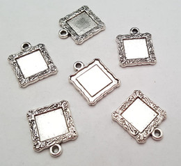 Wholesale Cheap Silver Blank - Stock clear cheap DIY 18mm Alloy accessories vintage antique silver blank frame charms pendant 044# fit charm bracelet 20pcs lot