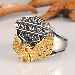 """Wholesale Stainless Steel Jewelry Engraved - Harley Men's Stainless Steel jewelry Eagle with """"American Biker"""" Engraving Cast silver black Ring size 8-14"""