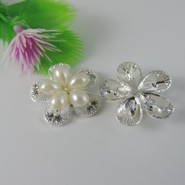 Wholesale gold plated jewellry - 10pcs Silver Pearl Flower Charm Pendant Jewellry Finding 24*24*6mm jewelry making