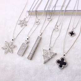 Wholesale Ladies Fashion Ornaments - fashion sweater long chain necklace Clover crystal chain pendant sweater Korean jewelry pendant ladies ornaments