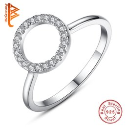 Wholesale Real Silver Finger Ring - BELAWANG Real 925 Sterling Silver Natural Handmade Fashion Jewelry Finger Rings Hollow Round Big Rings for Women Ladies Bijoux Free Shipping