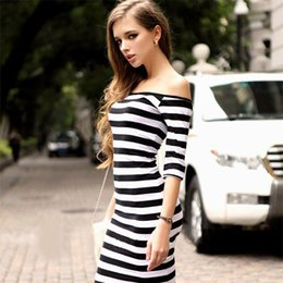 Wholesale Stripe Party Dresses - 4 Colors Women Summer Dress Lady Sexy Half Sleeve Off Shoulder Stripe Stretch Bodycon Party Dresses Cotton Blends S -3xl