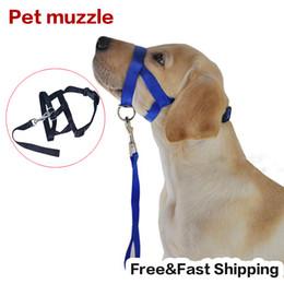 Wholesale Mouth Muzzles - Wholesale-No Bark Bitting Adjustable Nylon Dog Pet Safety Mouth Cover Muzzle Anti Bite Chew Black Quick Fit Adjustable Free shipping