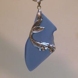 """Colar de pingente de azul royal on-line-Sereia charme 2 """"Royal Blue Beach mar talão de vidro` Handmade jóias colar pingente JCT ECO ®"""