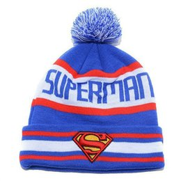 Wholesale Cheap Summer Hats For Girls - Cheap Superman Beanies Hat For Men With Pom, Cool Hip Hop Knitted Hat Sport Skullies Warm Women Winter ball Hat