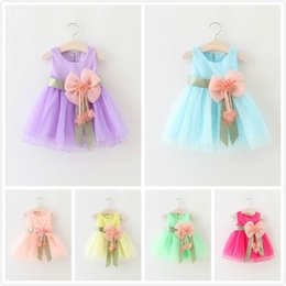 Wholesale Blue Chinese Bridesmaid Dresses - 6 Colors Summer New Hot Girl Chiffon Sleeveless Tutu Dresses Princess Wedding Bridesmaid Show Party Dress Infants Toddlers Bow Pleated Dress