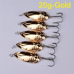 Wholesale Fishing Lures Spinner - Hot Gold Silver color Metal Spoons Fishing bait 15g 20g Alloy Lifelike Fish Spinner lure for saltwater fishing