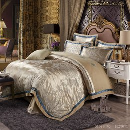 Wholesale Embroidered Satin Bedding Sets - 4pcs jacquard mulberry silk bedding set satin bed linen bedclothes queen king size including duvet cover bed sheet pillowcases