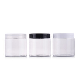 Wholesale Cosmetic Empty Jar - 12pcs 200g Portable Clear Empty Plastic Jar For Mask Round Bottle Empty Cream Jars Containers For Cosmetic Bead Storage