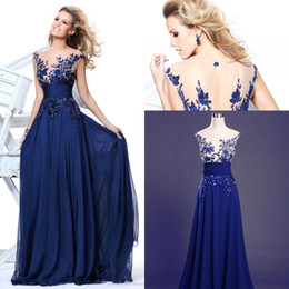 Wholesale Tarik Ediz Long Backless Dress - Tarik Ediz Long Royal Blue Evening Dresses robe soiree Cap Sleeves Embroidery Chiffon Floor Length Prom Bridesmaid Dress